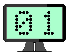 Computer Screen with Binary