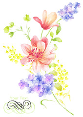 watercolor illustration flower bouquet in simple background