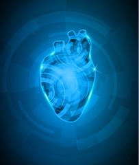 Abstact heart mechanism, beautiful deep blue color