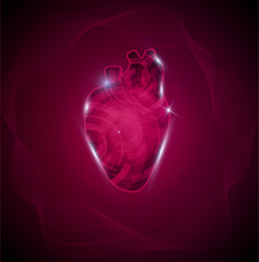 Human heart and wave. Cardiology research, heart of gears