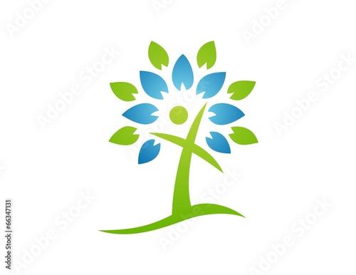"""logo tree,abstract people,cross symbol,religious icon ..."