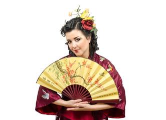 Portrait of Caucasian kimono mature woman with fan