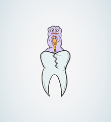 tooth with defect and ugly creature