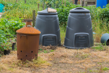 Garden incinerator and black compost bins