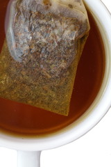 A Cup of tea with pyramid teabag