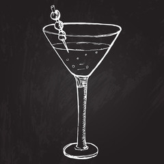 Alcohol drink with berries decoration in cocktail glass. Vector