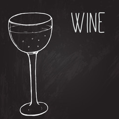 Glass of wine. Vector sketched illustration at the blackboard