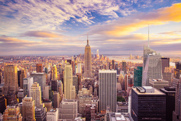 Wall Murals New York City Sunset view of New York City looking over midtown Manhattan