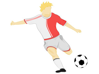 isolated red dress soccer player shooting vector