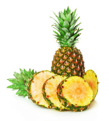 pineapple and  pineapple slices on the white background