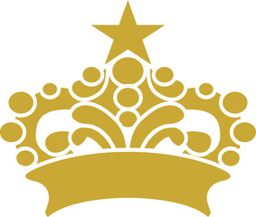 Golden Crown Star Vector Clipart Design