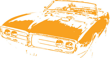60s Muscle Car Vector Clipart Design