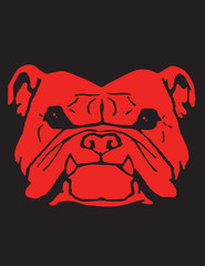 Red Bulldog Vector Clipart Design