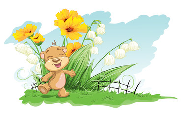 Spoed Foto op Canvas Lieveheersbeestjes Illustration cheerful bear with lilies and flowers