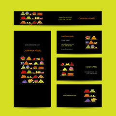 Business cards design, shelves with fruits