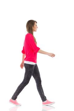 Walking young woman