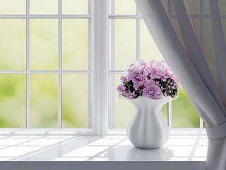 Roses on a windowsill.