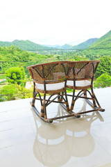 View of mountains from vintage chair