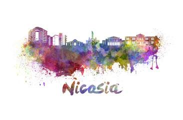Nicosia skyline in watercolor