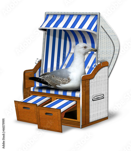Strandkorb comic  Strandkorb blau, weiß mit Möwe freigestellt