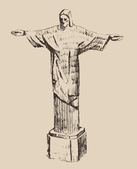 statue of Jesus Christ,  city engraved illustration
