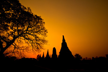 Silhouette of the pagoda in Ayutthaya province of Thailand