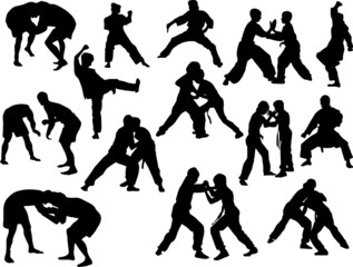 hand-to-hand fighters isolated silhouettes
