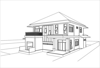 sketch design of house,vector