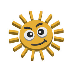 Illustrations of Summer sun on white background