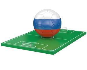 Ballon Russie sur terrain de football