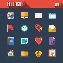 Communication and technology icons set. Flat design
