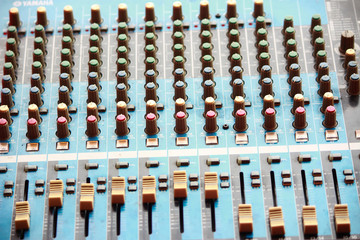 Top shot of a mixing console