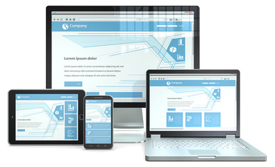 Responsive Web Design.RWD concept with various devices.Nobranded