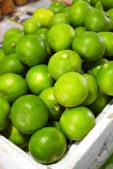 close up many thai lemon in market