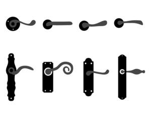 Silhouettes of doorknob and handles of the door, vector