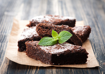 Cake chocolate brownies on wooden background