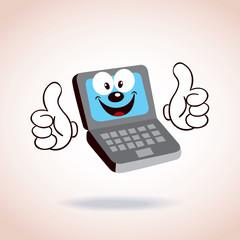 laptop mascot cartoon character
