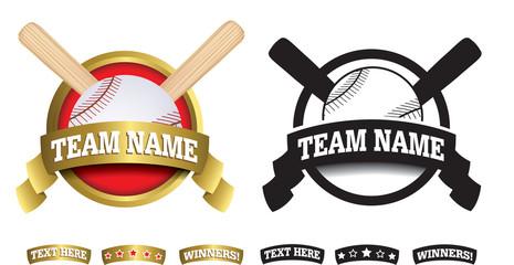 Badge, symbol or icon on white for baseball