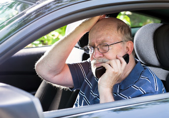 Frustrated Elderly Man Calls for Help from his car.