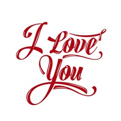 "Calligraphic  Writing ""i love you"""