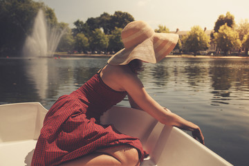 Young woman relaxing on the lake