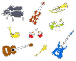 Instruments de musique stylisés