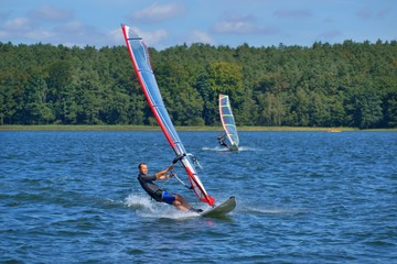 Windsurfing on the lake Niesłysz, Poland