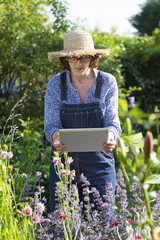Woman senior taking picture with her tablet pc in garden