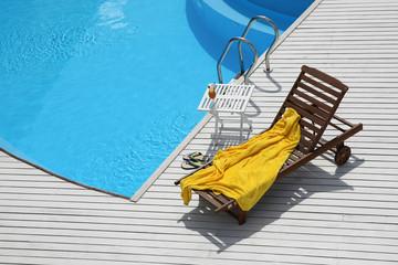 beach lounge chair near the pool