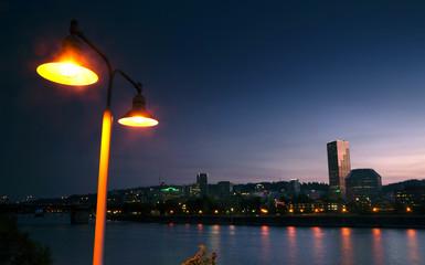 Willamette River Waterfront Downtown Portland City Skyline