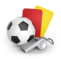 Yellow card, Red card and whistle.Football and abstract signs.
