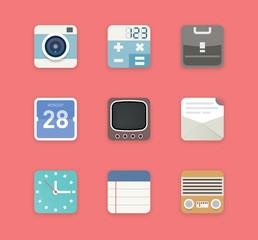 Set of flat vector items