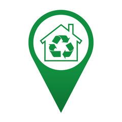 Icono localizacion simbolo reciclaje en el hogar