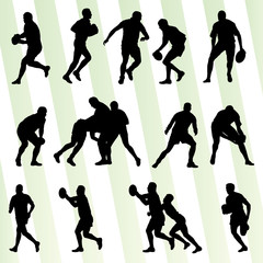 Rugby player man silhouette vector background set